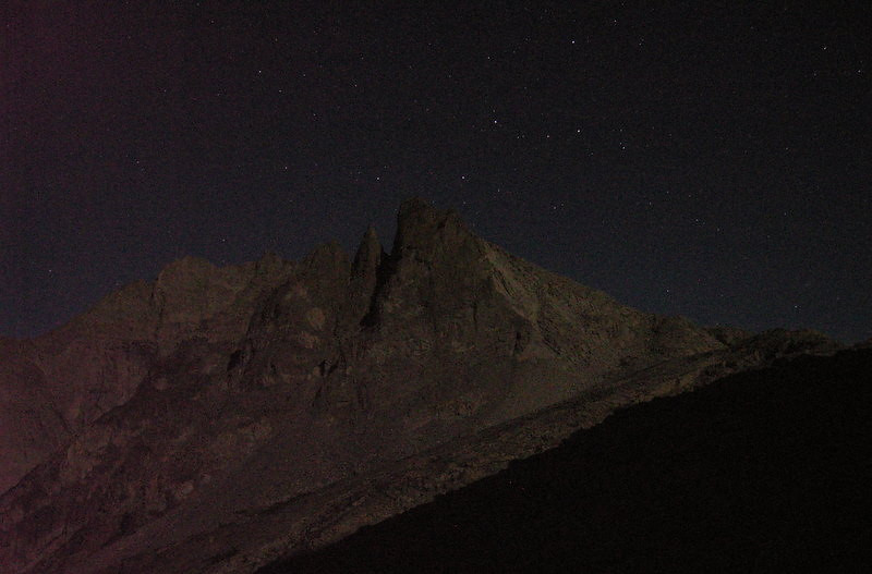 Cassiopeia above Mt Stewart, illuminated by the near-full moonlight.