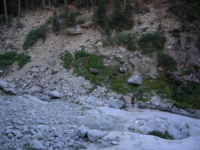 Paige and David cross Buck Creek