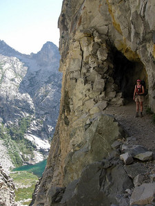 Pavla at the tunnel with Hamilton Lake far below us now.