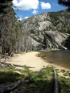 Barney Lake Beach  Refilled water and took a short break here