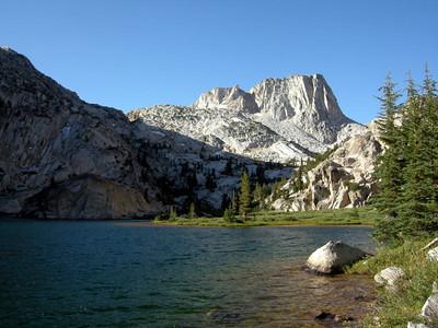 Starting off day 2: Crown Lake to lower Matterhorn Canyon   Slide Mountain and Crown Lake by Morning Light