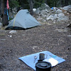 Camp on night 2 at the intersection of the PCT with Matterhorn Canyon