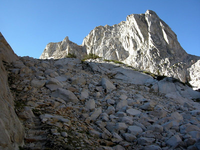 The trail is cut into the jumbled rocks