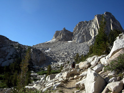 Mule Pass is to the left of the peak