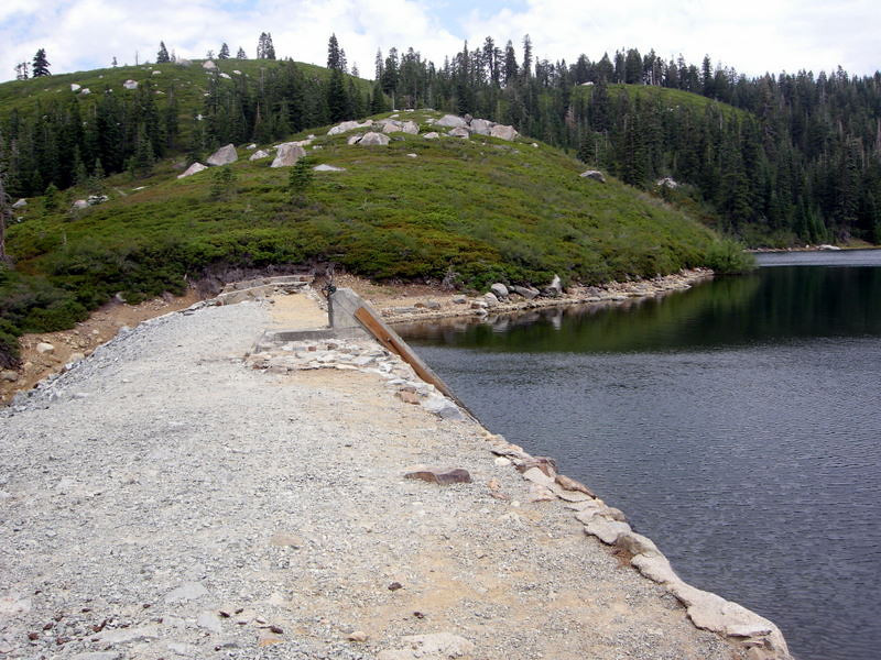 The dam between Carr and Feely Lakes