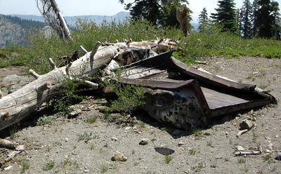 Heading up Grouse Ridge, we find this crushed truck