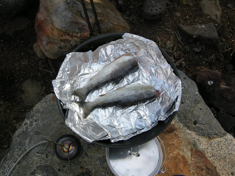 Breakfast, courtesy of Laurent and his mad fishing skillz<br /> <br /> I think he caught the only two trout in the lake