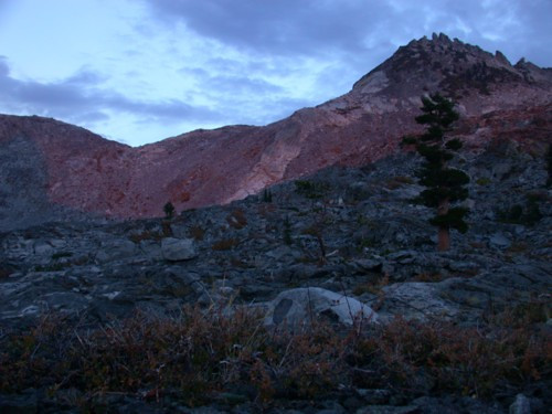 There was a small amount of alpenglow on the peaks behind us. But the real show was in front of us.
