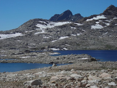 The lakes were so blue, reflecting the sky and contrasting with the granite.