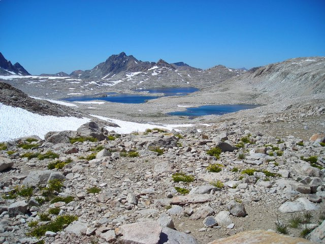 Looking down toward Evolution Basin - a moonscape with lakes.