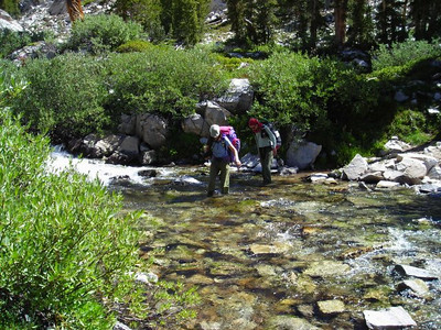 Paige and Taylor at a stream crossing.