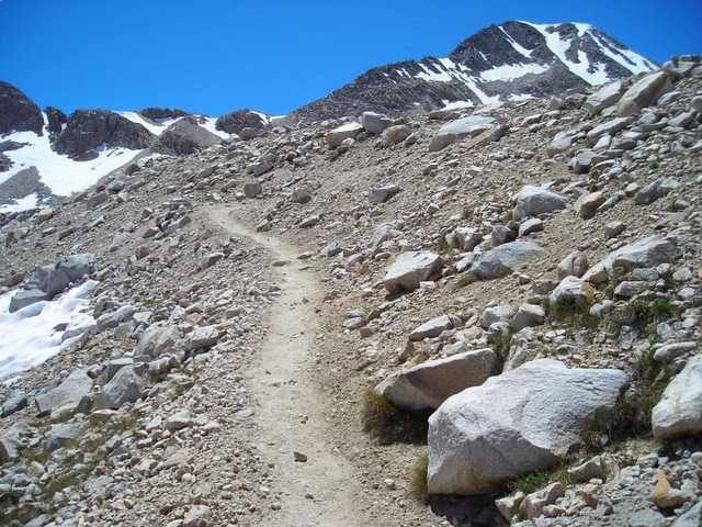 Only a few switchbacks on the relatively gentle approach to Muir Pass.
