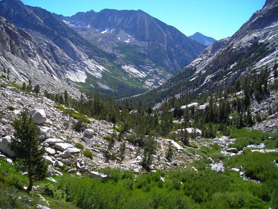 Looking back down LeConte Canyon.