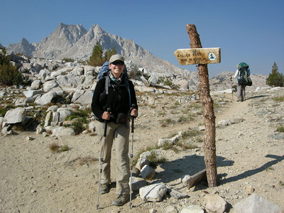 Graveyard peak and me at a trail sign