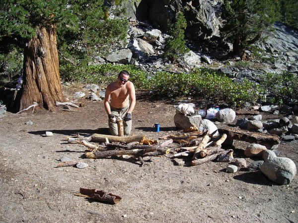 Drunken Marmot<br /> <br /> David chopping wood for our campfire.