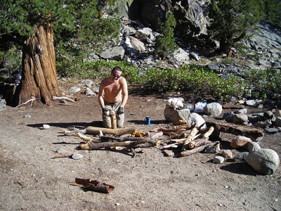 Drunken Marmot  David chopping wood for our campfire.