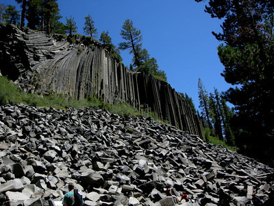 Devil's Postpile.  There were lots of families/tourists giving me a funny look as I plowed down the trail with my dusty legs and pack.