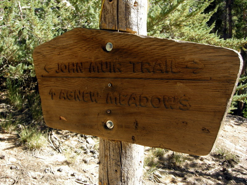 Carved trail sign.
