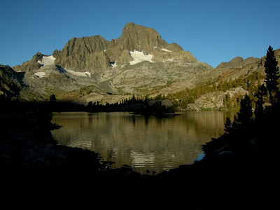 Ritter and Banner (and Garnet Lake) a little after sunrise