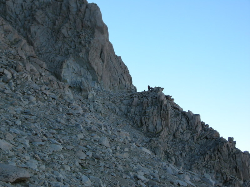 The trail junction - we'll drop our packs there and head up to the summit