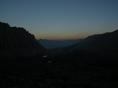 The first photo I could take - we started out from camp by headlamp