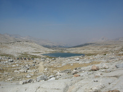 Looking back into the smoky Humprey's Basin from Piute Pass
