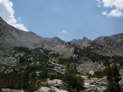 Looking back at Piute Pass