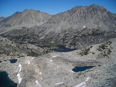 Looking down on the Rae Lakes in the distance.