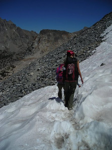 Crossing the small snowfield.