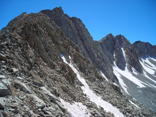 View of the ridge to the west from Mather Pass.