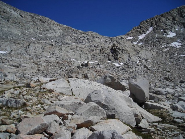 Looking back to Mather Pass as we descend.