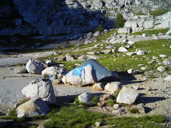 Home sweet home at Palisade Lake. My Tarptent Cloudburst and laundry.