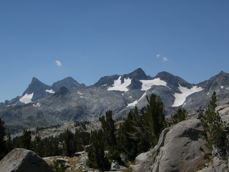 A new view - the Ritter Range.<br /> <br /> From left to right: Banner Peak, Mt Ritter, at Mt Davis