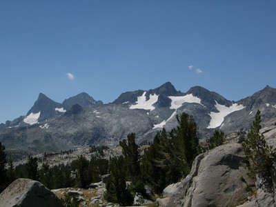 A new view - the Ritter Range.  From left to right: Banner Peak, Mt Ritter, at Mt Davis