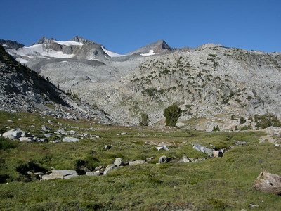 Alpine meadow below Donohue Pass  Getting there - only a few hundred more feet to climb.