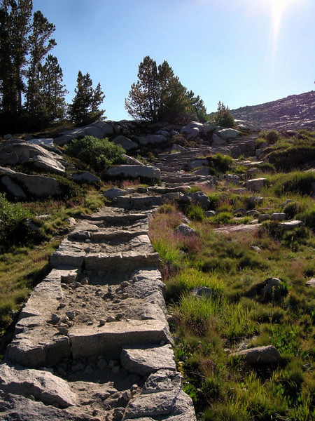 Steps to nowhere....<br /> <br /> Actually, they are climbing towards Donohue Pass