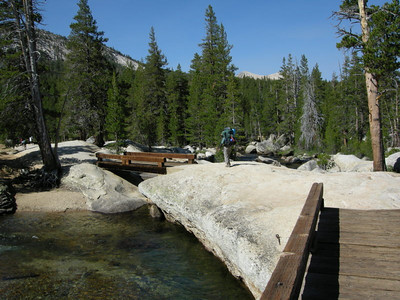 The bridge over the Lyell Fork