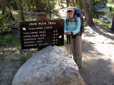 The John Muir Trail Trailhead sign and me, clean and happy and excited for the coming two weeks.  Okay, so I'm not starting at the JMT proper in Happy Isles, but this was a pretty good sign for the standard photo op.
