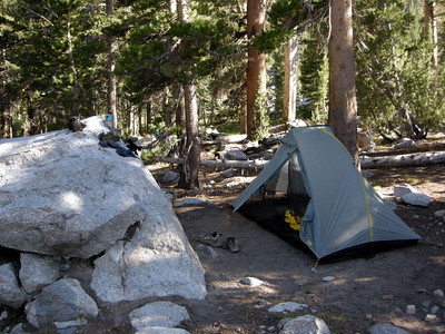 But today we're keeping it simple - stopping after 700 ft of climbing to the pass.  This is the first night's campsite with my home for the next two weeks - my beloved Tarptent Rainbow