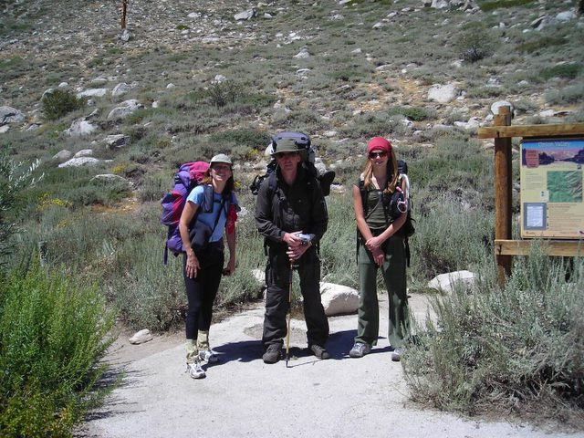 Paige, John, and Taylor before starting off on the climb to the Pass.