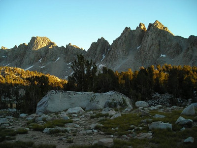Sunset begins on the pinnacles