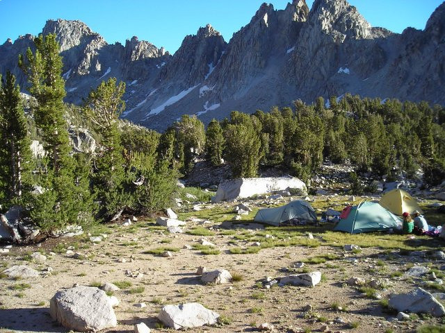 Our campsite near Kearsarge Lakes (Kearsarge Pinnacles are the peaks).