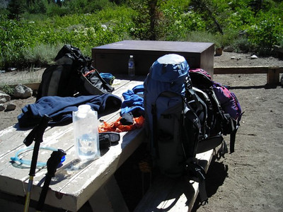 The packs all loaded up for a week in the High Sierra.