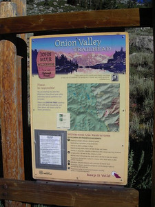 Onion Valley Trailhead sign.