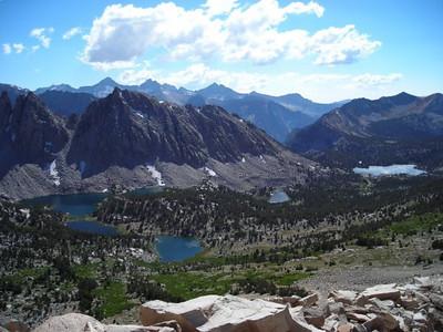 View toward Kearsarge Lakes and Kearsarge Pinnacles from Kearsarge Pass.