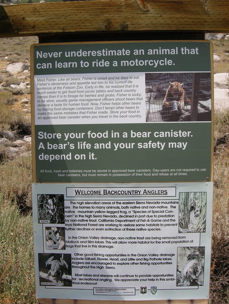 I love this sign at the Onion Valley trailhead