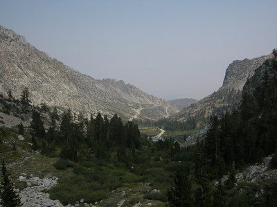 As we start to climb towards Kearsarge Pass we get a view of the road into Onion Valley  Just out of sight is the burned area from the fires earlier this summer