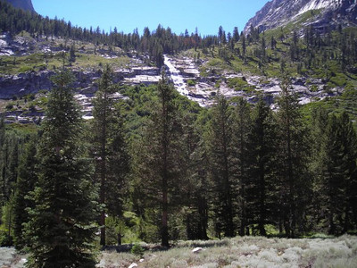 Waterfall coming from Ladder Lake
