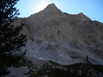 We get some shade as the sun dips behind Langille Peak.