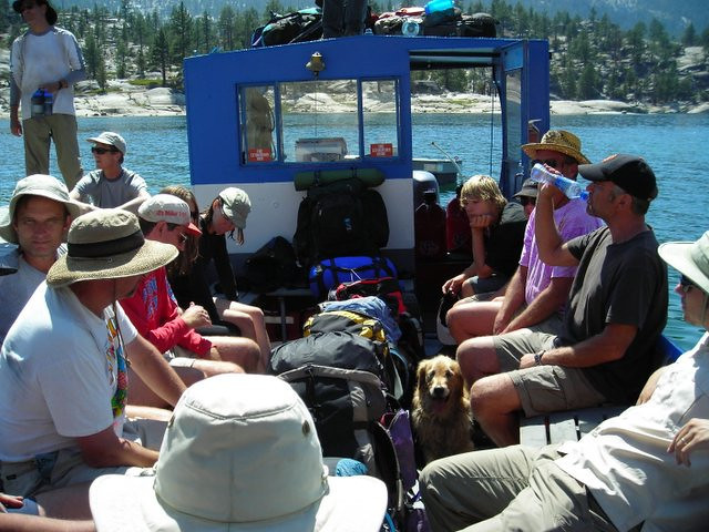 The ferry - lots of packs and hungry hikers